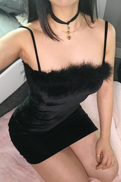 Womens Chic Plain Black Spaghetti Straps Fur Trim Mini Fitted Cami Dress for Party