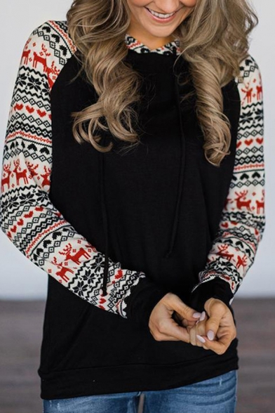 Womens Fashionable Christmas Elk Snowflake Patched Long Sleeve Slim Black Casual Pullover Hoodie, LM569940