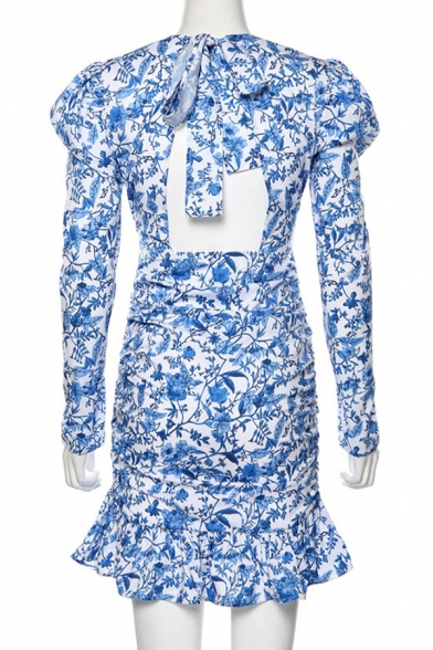 Womens Popular Floral Printed Puff Long Sleeve Backless Ruffle Hem Casual Blue Mini Holiday Dress