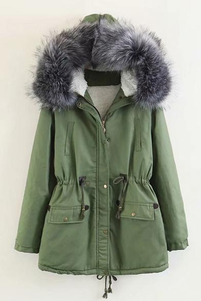 Womens Popular Fur Trimmed Hood Drawstring Waist Sherpa Lined Tunic Parka Coat