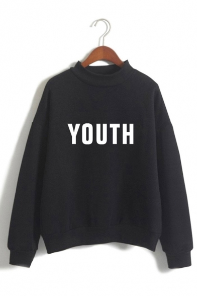 Womens Popular YOUTH Letter Printed Long Sleeve Mock Neck Loose Pullover Sweatshirt, Black;blue;pink;white;gray, LC571083