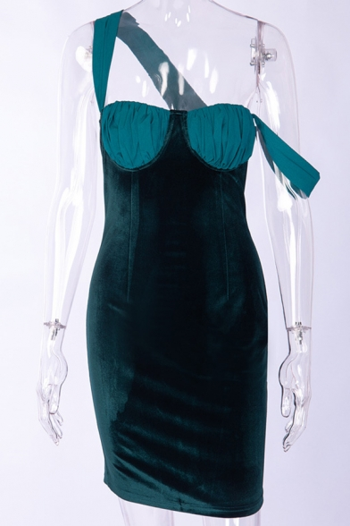 Womens Sexy Fashionable Back Split Color Block Velvet Panel Green Mini Cami Dress