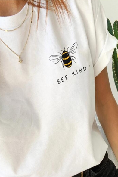 Womens Simple BEE KIND Letter Printed Short Sleeve Crewneck Leisure T-Shirt