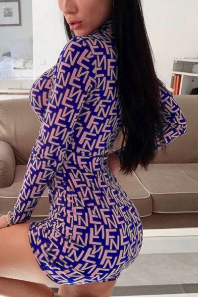 Allover Letter Z & F Printed Long Sleeve High Collar Mini Bodycon Dress in Purple