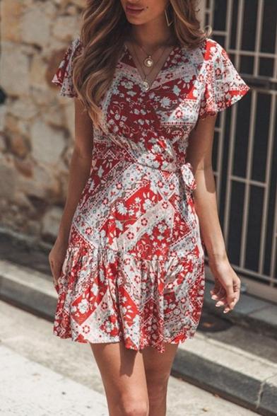 Ethic Ladies' Short Sleeve Surplice Neck Floral Print Ruffled Trim Bow Tie Waist Pleated Mini Wrap A-Line Dress