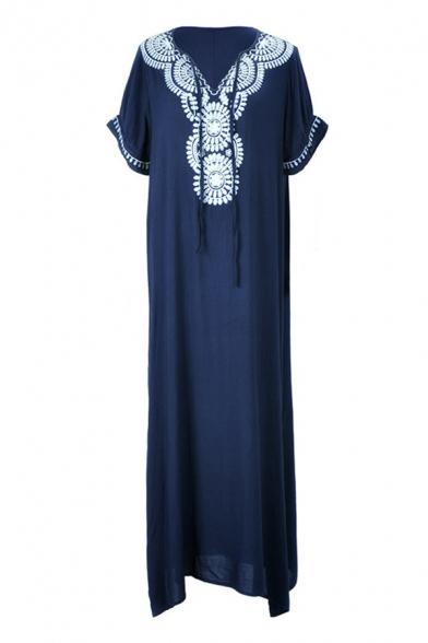 Ethnic Navy Short Sleeve V-Neck Floral Print Slit Side Long Flowy Dress for Ladies