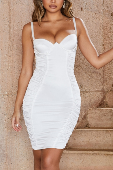 Ladies Stylish Plain Satin Ruched Sexy Fitted Mini Bustier Strap Dress