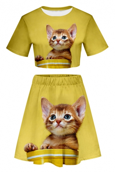 Lovely Cat 3D Printed Short Sleeve Cropped T-Shirt & Elastic Waist Midi Skirt Two Pieces Tracksuit, Black-white;black-green;blue-red;red gray;white green;blue-purple;dark gray-black;light gray-black;light gray-white;black-gray;red-white;blue-black;navy-wh