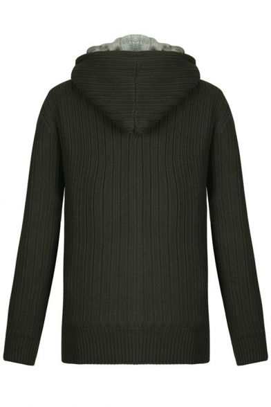 Mens Casual Long Sleeve Zip Placket Ribbed Knit Hoodie Tunic Thick Hooded Cardigan