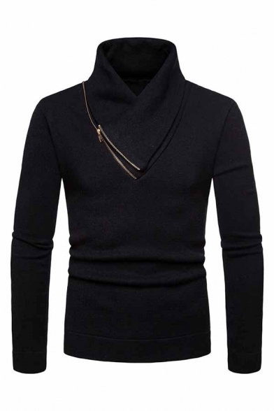 Mens Casual Zipper Embellished Shawl Neck Long Sleeve Plain Slim Fit Pullover Sweater