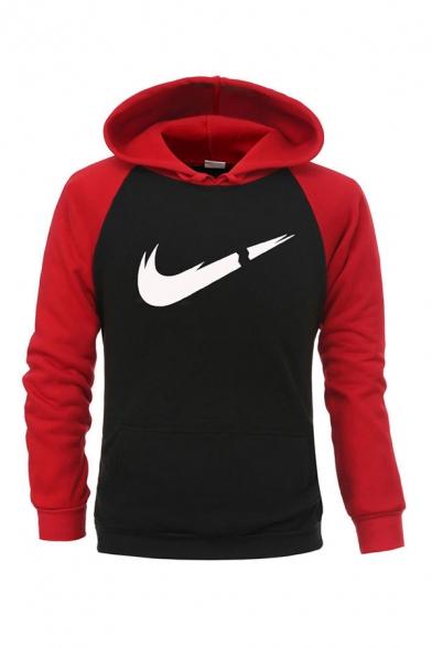 Mens Funny Logo Printed Raglan Long Sleeve Slim Fit Leisure Sports Hoodie
