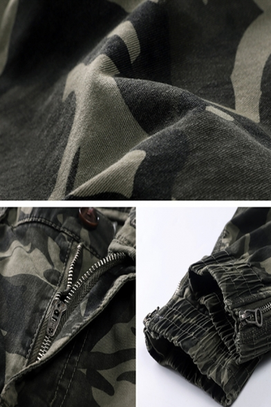 Mens Simple Camouflage Print Zip Front Mid-Waist Thick Military Pants