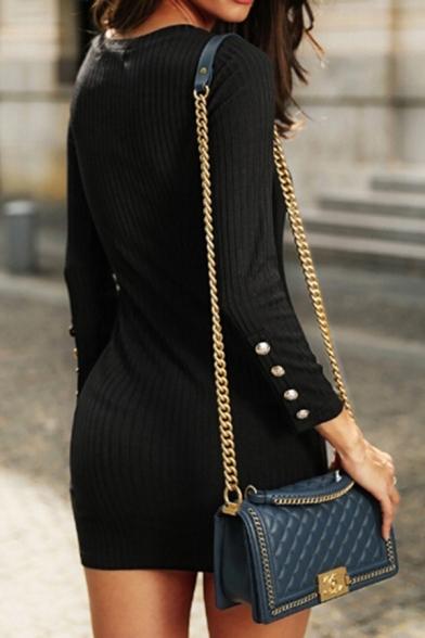 Plain Elegant Ladies' Long Sleeve Button Embellished Slit Side Knit Short Bodycon T Shirt Dress