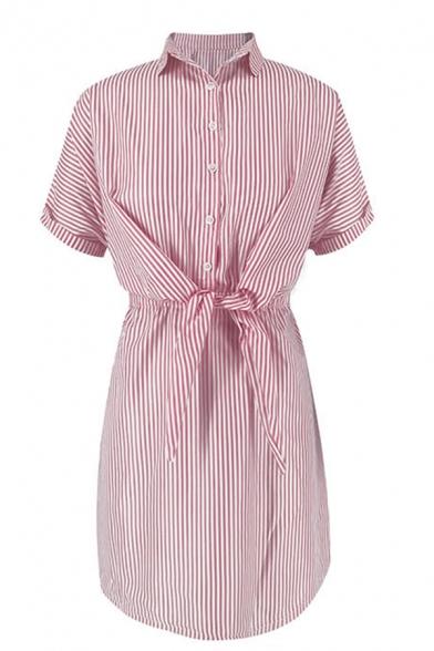 Plain Trendy Ladies' Short Sleeve Lapel Collar Stripe Pattern Bow Tie Front Button Down Short Pleated A-Line Dress
