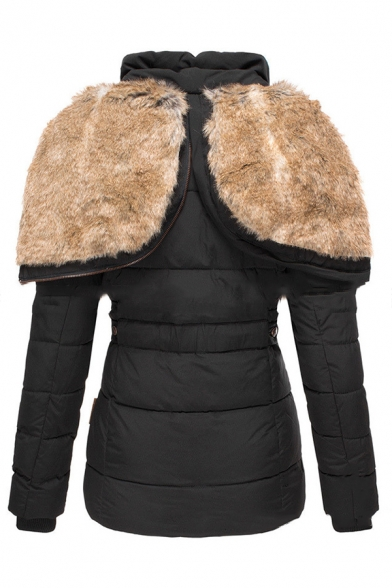 Warm Solid Color Faux Fur Lined Zipper Embellished Slim Tunic Parka Hooded Down Coat