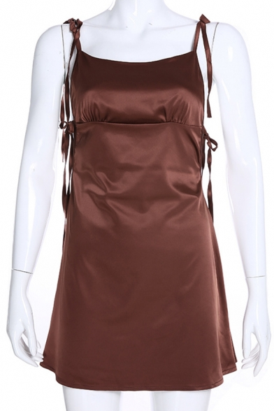 Womens Casual Sexy Plain Brown Tied Strap Mini Satin Cami Party Dress