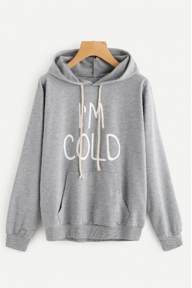 Womens Fashionable Letter I' COLD Printed Long Sleeve Pouch Pocket Drawstring Hoodie, Black;pink;white;gray;yellow, LC570590