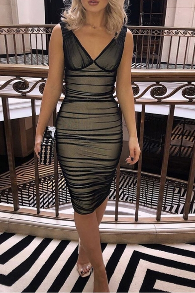Womens Fashionable Solid Color Sleeveless V-neck Midi Mesh Bandage Dress for Party