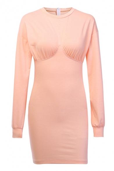 Womens New Stylish Plain Pink Long Sleeve Crew Neck Knit Mini Bodice Party Dress