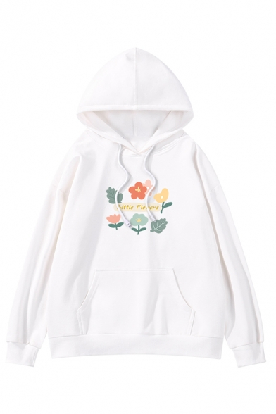 Womens Simple Cartoon Flower Printed Long Sleeve Pouch Pocket Baggy Pullover Hoodie, Black;green;pink;red;white;apricot;purple;yellow, LC577063