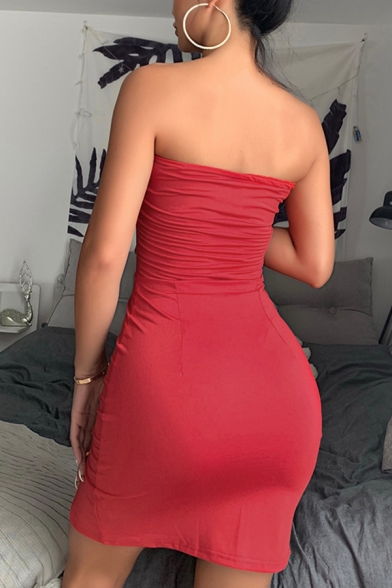 Chinese Style Plain Red Trendy Strapless Slim Fit Front Split Mini Bandeau Cheongsam Tube Dress
