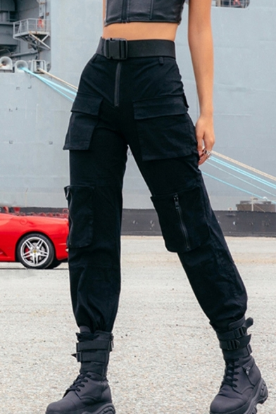 Cool Casual Girls' Mid Rise Buckle Belt Utility Cuffed Ankle Baggy Cargo Pants in Black