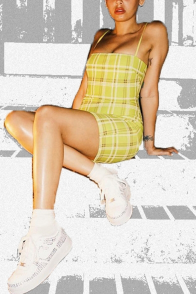 Hot Fashion Tartan Plaids Printed Mini Fitted Slip Dress for Women