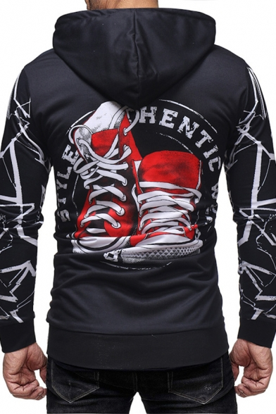 Letter SKY FLY Shoes Printed Long Sleeve Black Fitted Drawstring Hoodie