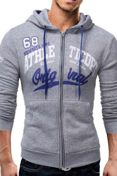 Mens Funny ATHLE TICDPT Letter Print Long Sleeve Zip Placket Casual Drawstring Hoodie