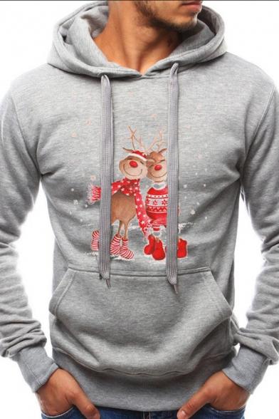 Mens Lovely Christmas Elk Pattern Long Sleeve Kangaroo Pocket Pullover Hoodie