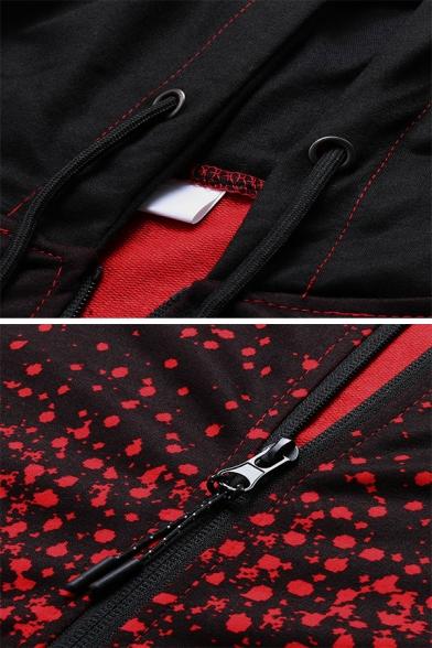 Mens Popular Splatter Paint Printed Long Sleeve Zip Up Sports Hoodie with Pocket