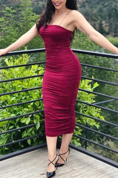 Petite Womens Sexy Plain Spaghetti Straps Midi Bandage Dress for Party