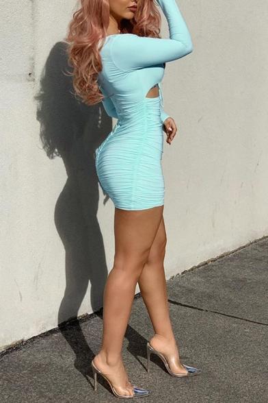 Sexy Plain Sweetheart Neck Ruched Drawstring Detail Cutout Long Sleeve Mini Bandage Dress for Club