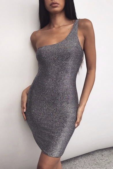 Womens Bling Bling Fashion Solid Color One Shoulder Sleeveless Mini Fitted Nightclub Dress