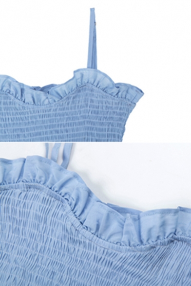 Womens Casual Plain Light Blue Stringy Selvedge Trim Spaghetti Strap Mini Ruched Party Dress