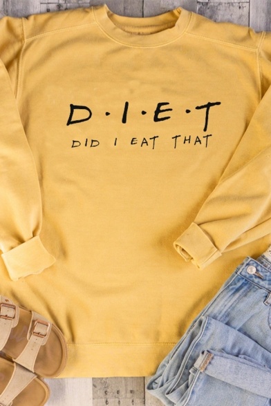 Womens Funny Letter DIET Print Long Sleeve Loose Pullover Sweatshirt, Black;pink;white;gray;yellow, LC573674