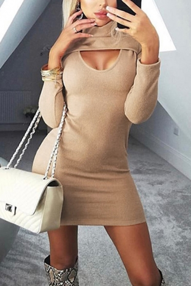 Womens Simple Cut Out Front Long Sleeve High Collar Plain Mini Party Dress