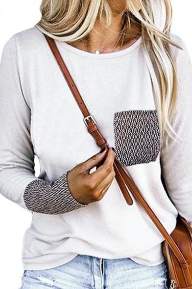 Womens Unique Patched Chest Pocket Long Sleeve Crewneck Loose T-Shirt