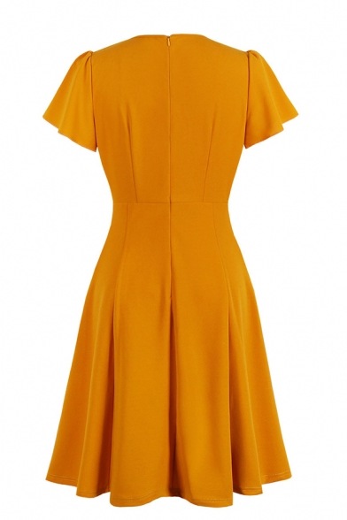 Basic Cute Orange Short Sleeve Crew Neck Zip Back Bow Tie Ruched Pleated Midi A-Line Dress for Ladies