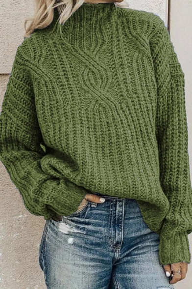 Basic Elegant Plain Long Sleeve High Neck Chunky Knit Baggy Pullover Sweater Top for Women