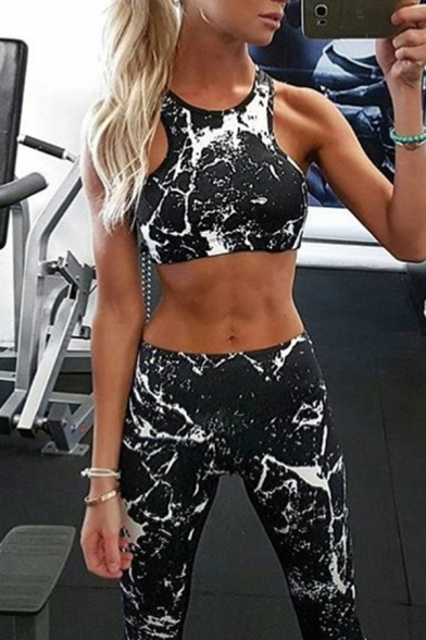 Black Chic Tie Dye 3D Print Sleeveless Cropped Tank Top with Skinny Pants Yoga Track Suit, LM574711