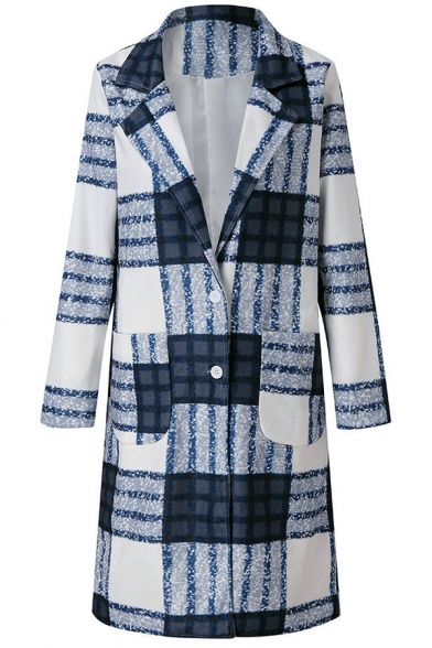 Blue Chic Long Sleeve Notch Collar Plaid Patterned Button Front Relaxed Midi Wool Coat for Female