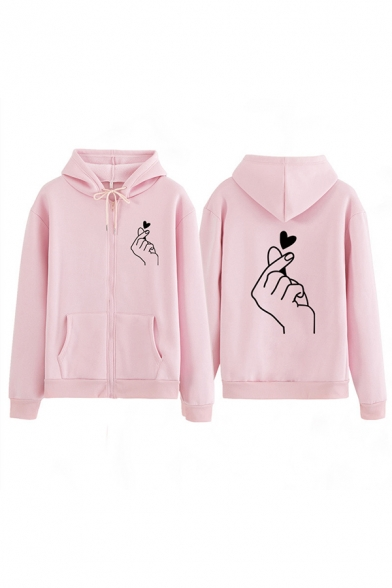Cool Casual Long Sleeve Drawstring Finger Heart Zip Front Pockets Relaxed Hoodie for Women