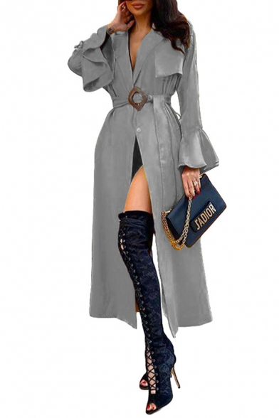 Cool Elegant Women's Long Sleeve Shawl Collar Belted Button Front Ruffled Trim Slit Front Plain Fitted Long Trench Coat