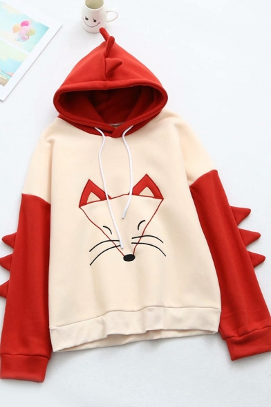 Cute Cartoon Embroidered Fox Print Color Block Long Sleeve