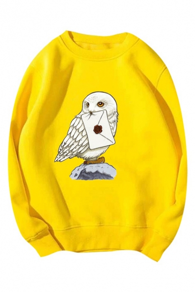 Cute Eagle and Letter Pattern Round Neck Long Sleeve Loose Pullover Sweatshirt