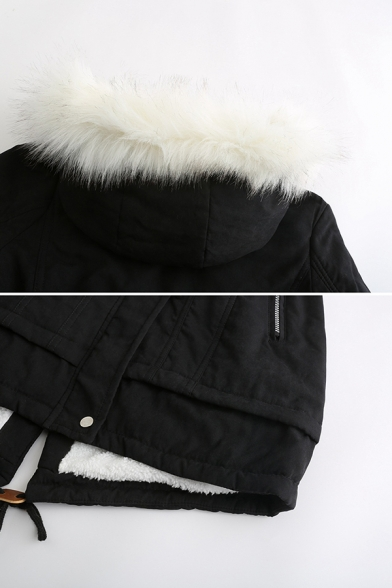 Cute Plain Long Sleeve Hooded Drawstring Button Zipper Front Fuzzy Trim Relaxed Mid Parka Coat for Girls