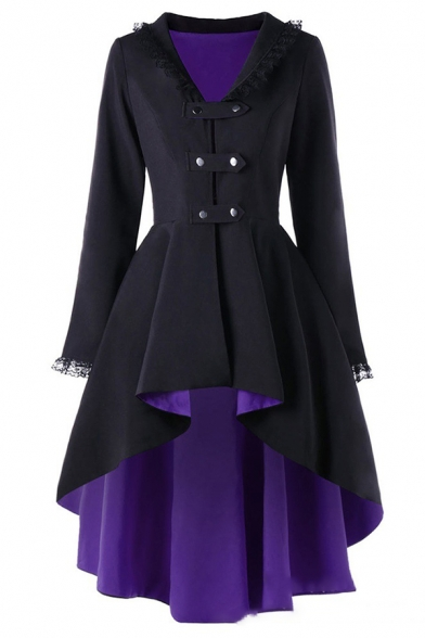 Cute Vintage Long Sleeve V-Neck Double Breasted Lace Trim Fitted Plain Pleated Midi Coat for Girls