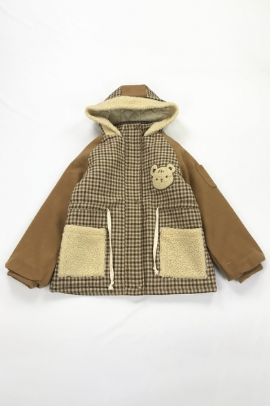 Cute Women's Blouson Sleeve Hooded Button Front Pockets Side Bear Embroidered Sherpa Fleece Thick Oversize Coat
