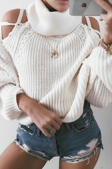 Fashion Girls' Long Sleeve Turtleneck Hollow Out Knit Baggy Pullover Sweater in White, LM580770